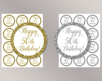Happy 60th Birthday Cupcake Toppers Happy Birthday favor