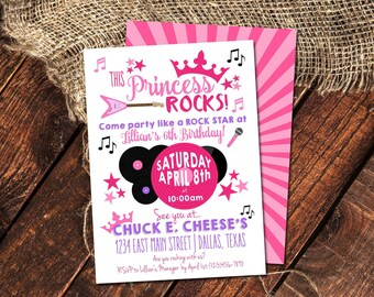 THIS PRINCESS ROCKS Birthday Invitation   Rock-Star Princess Birthday Party
