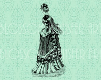 Lady - Dress - Digital Image - Iron on transfer - Pillows, totes, burlap, fabric - Download for papercrafts - 1748