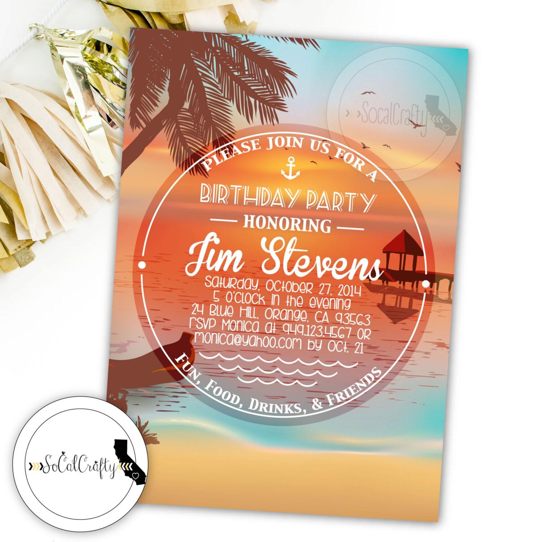 Well-liked Beach Birthday Party Invitation Beach Invitation Tropical JV46