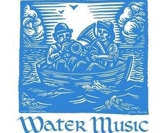 Water Music Tshirt, Small, Medium, Large, XLarge