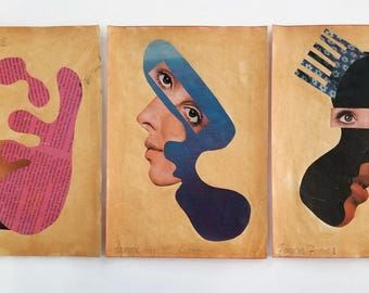Forms Du Femme, Collage on Vintage paper ephemera