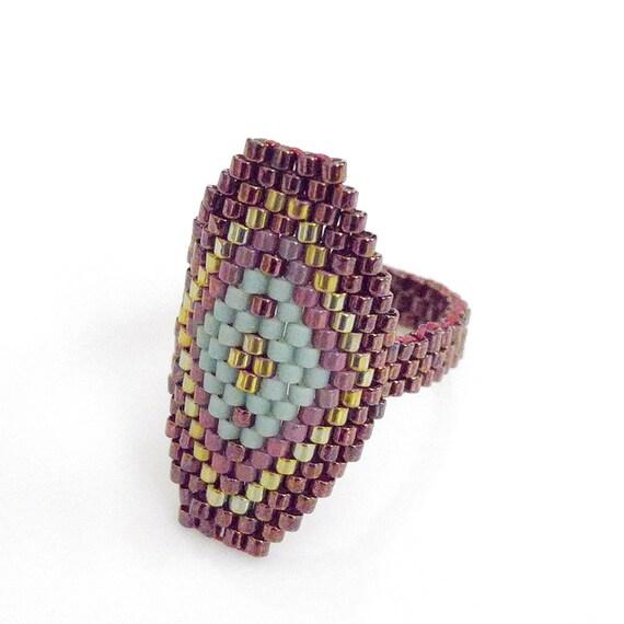 Metallic Red Hexagon Ring, Hexagon Statement Ring, Mint Diamond, Geometric Ring, Egyptian Style, Luxe, BIthiah, OOAK