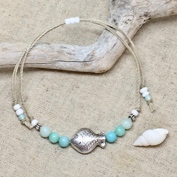 beach anklet, beachcomber boho jewelry, gift for her