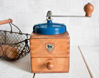 Authentic French PEUGEOT FRERES Blue Coffee Grinder 1950's || Vintage French Blue Metal and Wood Coffee Mill - Rustic & Shabby Chic