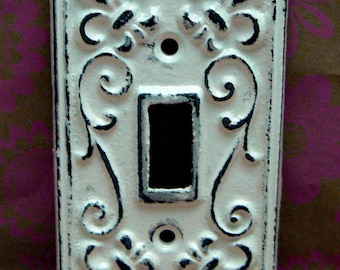 Fleur de lis Cast Iron Light Switch Plate Cover Single Wall FDL Shabby Elegance Distressed Rustic French Decor Creamy Off White ( Ecru)