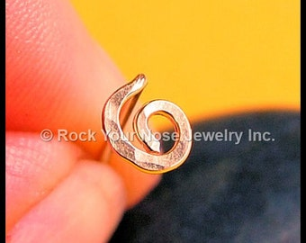 14K Solid Hammered Organic Open Spiral Nose Stud -  Rose Gold - CUSTOMIZE