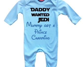 Daddy wanted Jedi Mummy got a Prince Charming baby blue long sleeve rompasuit bodysuit.