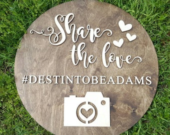 Share The Love Sign - Wooden Wedding Sign - Hashtag Sign