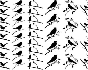 """Birds on Branches Black 5"""" X 7"""" Card Fused Glass Decals 18CC976"""