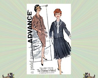 1960s Sheath Skirt or Pleated Skirt & Button Front Jacket Pattern, Size 12, Bust 32, Vintage Advance Sewing Pattern 9524