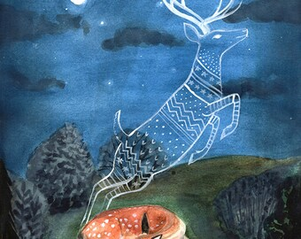 PRINT - Fawn dreams of being a Buck, Deer dreams, Art Illustration, Watercolor Painting, 8x10