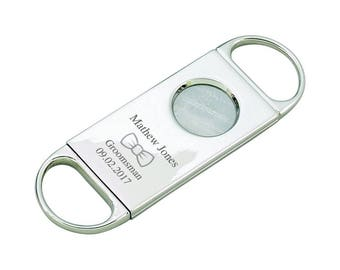 Personalized Cigar Cutter - Groomsman Gifts - Best Man Gift - Gift for Dad - Cigar Cutters - Silver Cigar Cutter - Bridal Party Gift