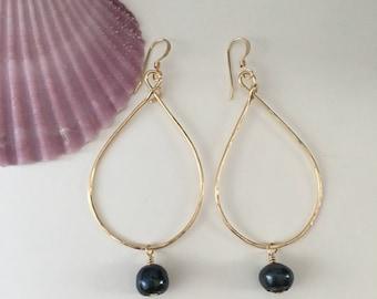 Gold Filled <> Black Pearl <> Gold Teardrop Hoops
