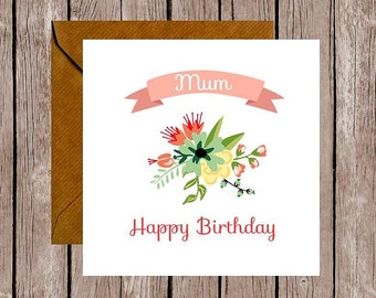 Floral Mum Birthday Card