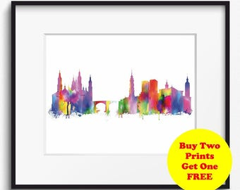 Zaragoza Skyline Watercolor Art Print (356) Cityscape Spain Saragossa