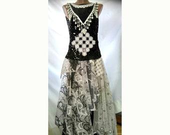Black white unique dress /alternative wedding dress/ boho dress/festival dress/bridesmaids dress/gown