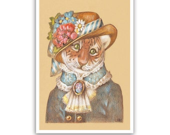 Lady Tiger Art Print - Animal Posters, Children Room Art, Gifts - Wildlife Art - Pet Portraits by Maria Pishvanova