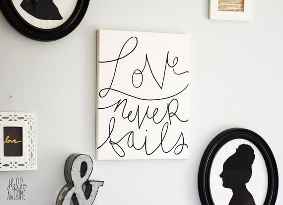 Love Never Fails Quote Hand Lettering Canvas Wall Art