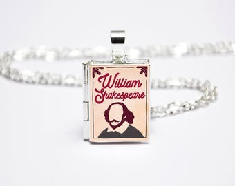 William Shakespeare Book Locket Charm. Book Charm. Book Necklace. Book Jewellery. Shakespeare Gift. Literary Jewelry. Silver Locket Library