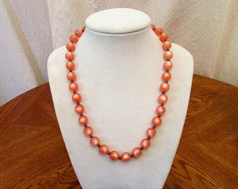 Vintage 1950's PINK MOONGLOW Bead CHOKER Necklace