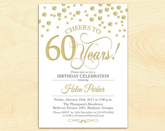 60th Birthday Invitation. Any Age. Cheers to 60 Years. Gold White. Diamonds. For Women or Men. Digital Printable Invite. Customized