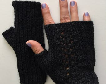 Black texting mitts, hand knit merino wool  fingerless gloves, hand knit gift, black fingerless gloves.