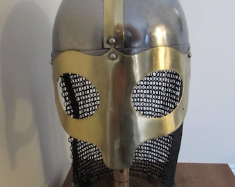 Viking Helmet with Aventail hand made/ riveted and spot welded