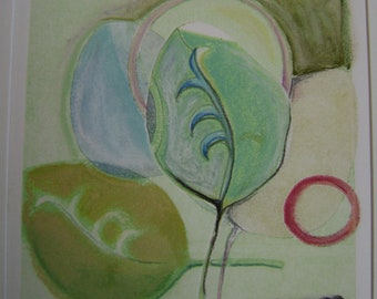 monotype print leaves and circles