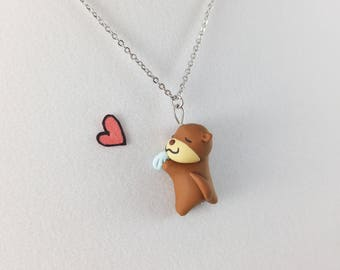 Kawaii Otter Necklace // Polymer Clay Sea Otter Jewelry // Baby Otter Gift