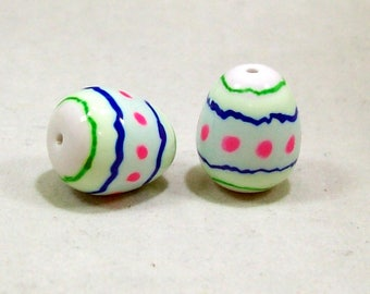 Easter Egg Beads - Hand Painted on Polymer Clay