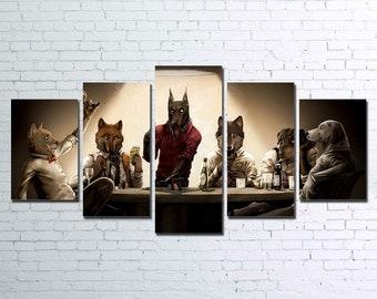 Poker Dogs V2 5pc Canvas Set