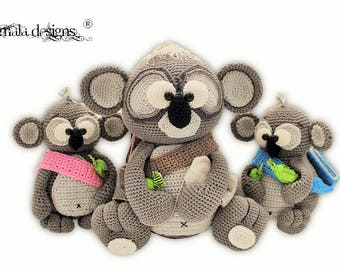 koala family with eucalyptus trees - crochet pattern by mala designs