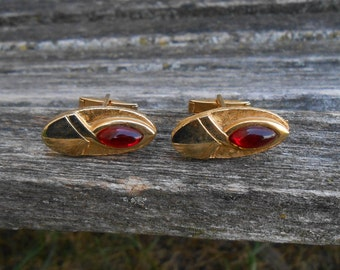 Vintage Red Stone Cufflinks. Gift For Dad, Groom, Groomsmen, Wedding, Anniversary, Birthday, Christmas, Father's Day.