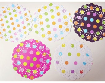 5pcs Multi Colored dots Doily paper for Scrapbooks, card making, wedding decoration / pack