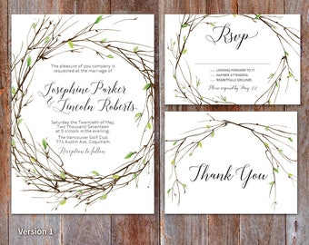 Woodsy wedding Invitation, Greenery wedding invite, Green Leaves, Rustic Greenery Wedding invite, Outdoor Wedding, Wreath Wedding invitation