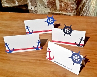 5/pack-Personalised/ Hand Crafted Nautical-Ahoy Sailor Place Cards