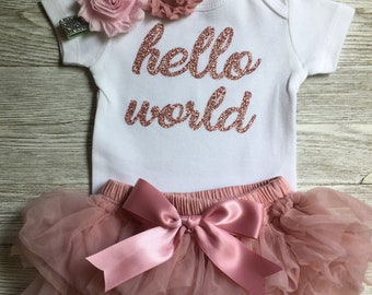 Rose Gold Hello World Bodysuit | Baby Shower Gift | Baby Girl Take Home Outfit | Optional Bow | Baby Girl Clothing | Newborn Baby Girl