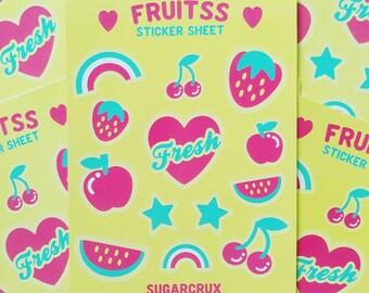 Fruit Sticker Sheet / Kiss-cut Stickers / Planner Stickers / Vinyl Stickers