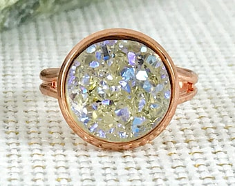 Champagne Druzy Ring - Druzy - Drusy - Adjustable Ring - Rose Gold Ring - Druzy Jewelry - Champagne Jewelry - Gift - Champagne Ring - Rings