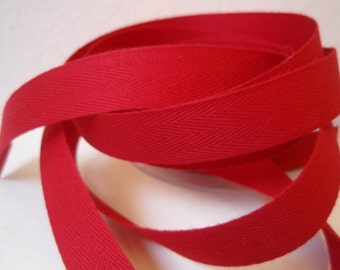 "Twill Tape Red Cotton  5/8"" width 10 Yards"