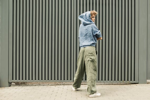 pants pants Woman linen trousers harem linen Green pants Olive Man handmade Baggy gray clothing green Pants linen Linen men linen women xWPpqZwz