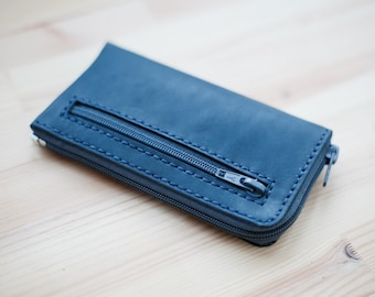 Vegetable tanned  Leather Mini Zip Wallet/Small leather wallet /Zip wallet/Leather Card holder/Men's Leather Wallet/Leather Phone case