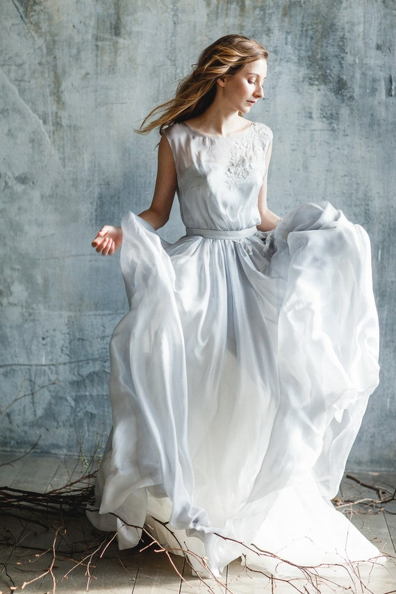 Blue grey illusion neckline wedding dress with sleeveless