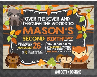 Birthday Invitation Woodland Animals, Forest Animals Printable Invitation, Woodland Party Invitation, Birthday Party Invite,
