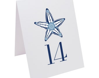 Paisley Starfish Beach Wedding Table Numbers
