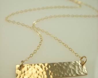 Gold Bar Necklace - Name Plate Necklace - Hammered Bar Necklace - Rectangle Bar Necklace