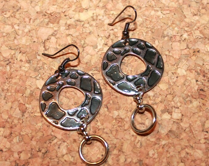Black and Silver Earrings, Dangle Earrings, Hook Earings, Bell Art Designs 186