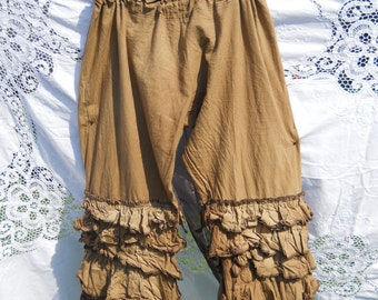 Linen Plus Regular Size Pants Trousers bloomers brown pantaloons quirky funky lagenlook layering boho festival RitaNoTiara Southern Gothic