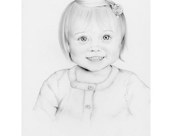 Custom Portrait Pencil Drawing Portrait Personalized Hand Drawn Portrait Kids Portrait Custom Portrait Drawing One of a Kind Baby Portrait